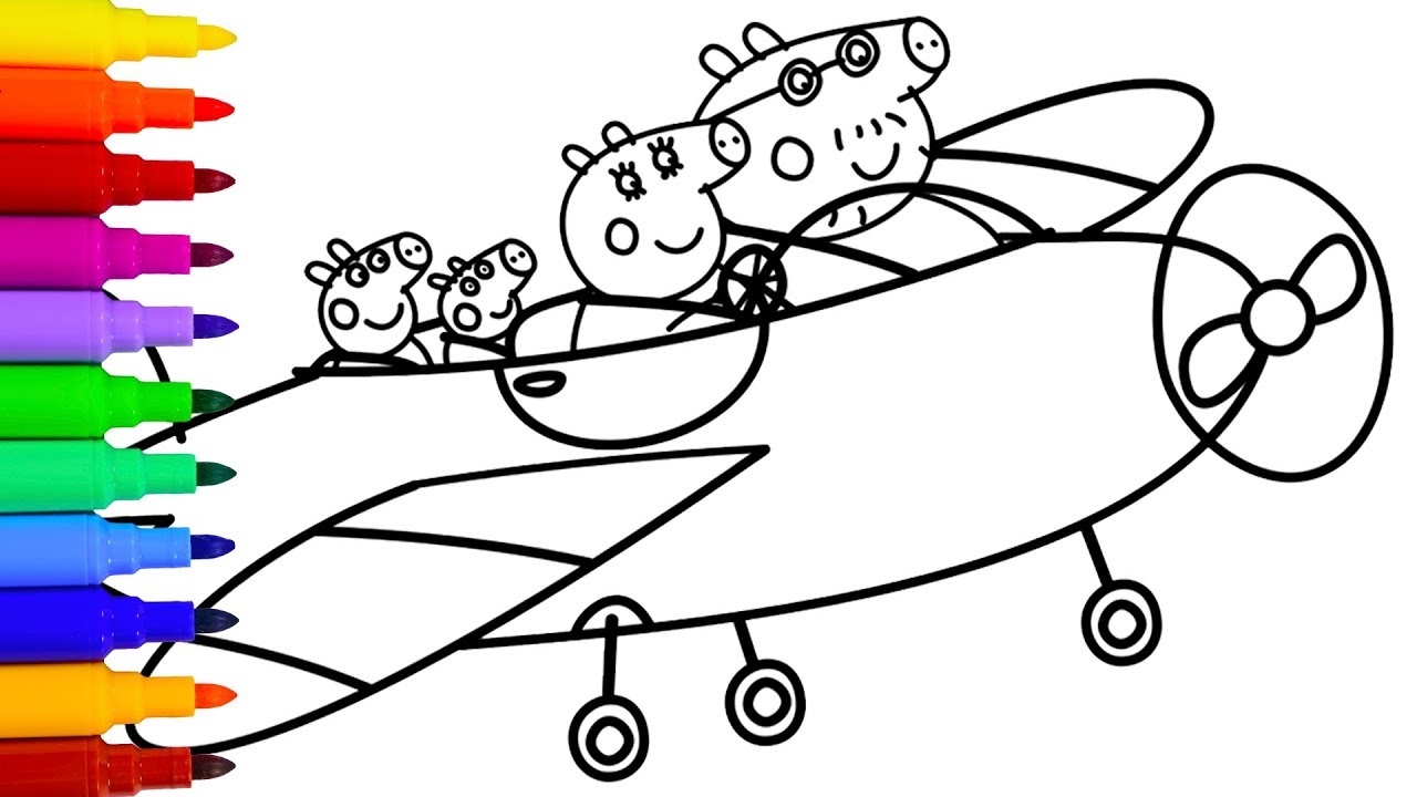 1280x720 Marvelous Peppa Pigawing Coloring Image Christmas Airplane Pages