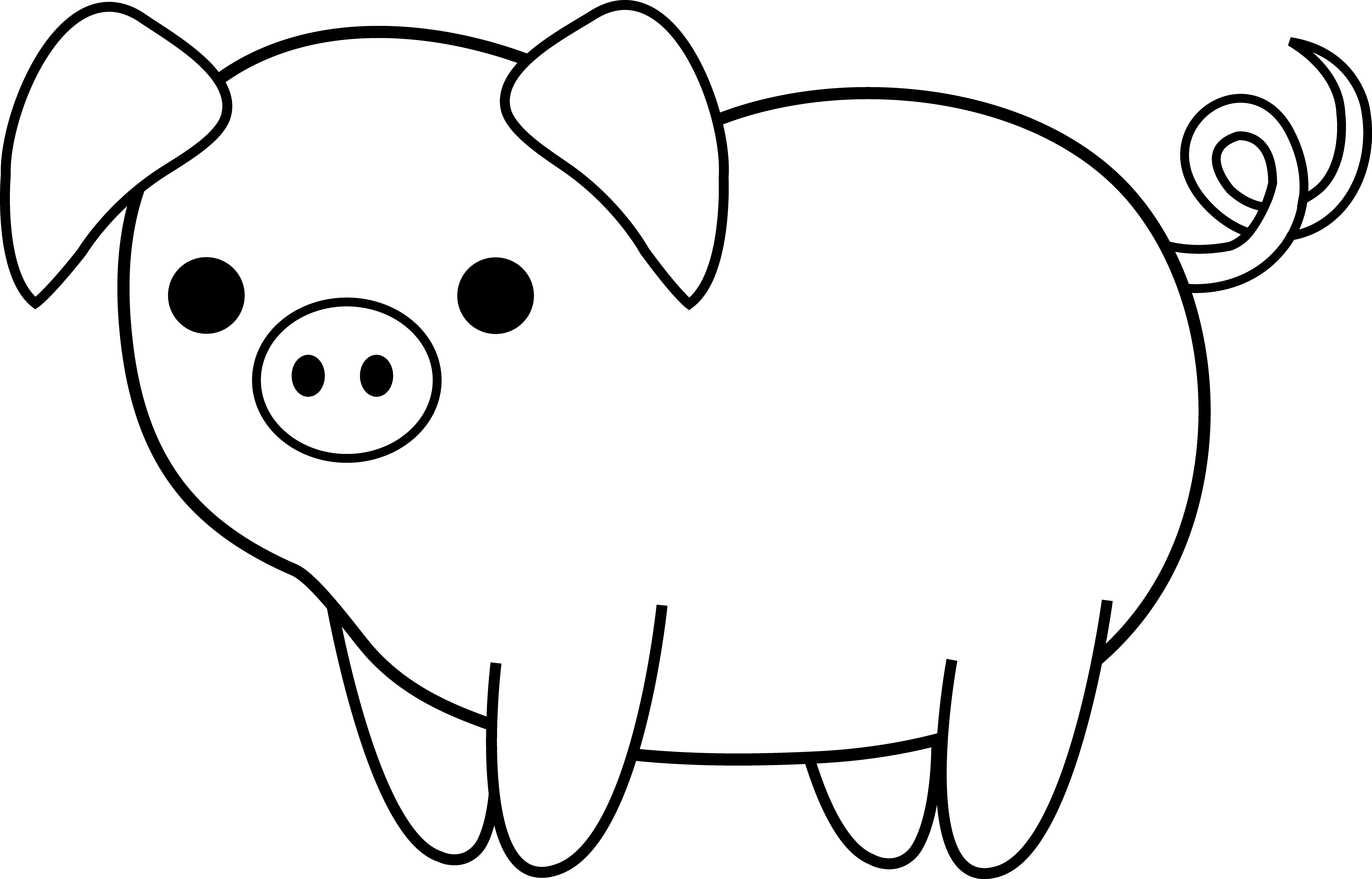 5189x3325 Cute Black And White Pig Clip Art Pig Drawing, Pig Crafts