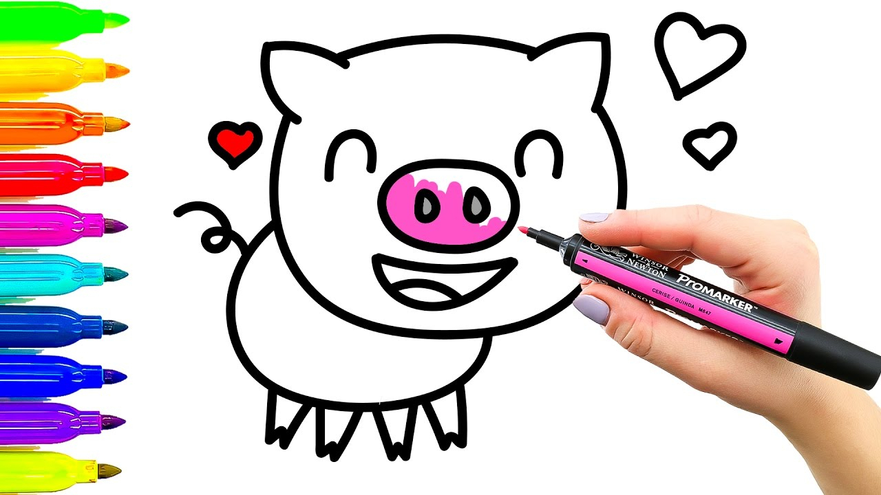 1280x720 Pigs Drawing For Kids And Pig Drawing For Kids Pig Drawing