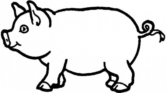 585x329 Pretentious Design Picture Of A Pig To Color Coloring Drawing