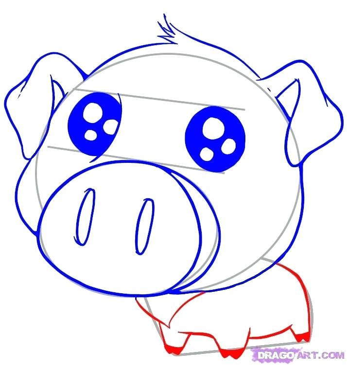 714x755 Cute Pig Drawings How To Draw A Cute Pig Step Funny Pig Drawings