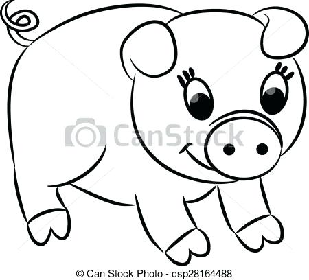 450x408 Cartoon Pig Drawing