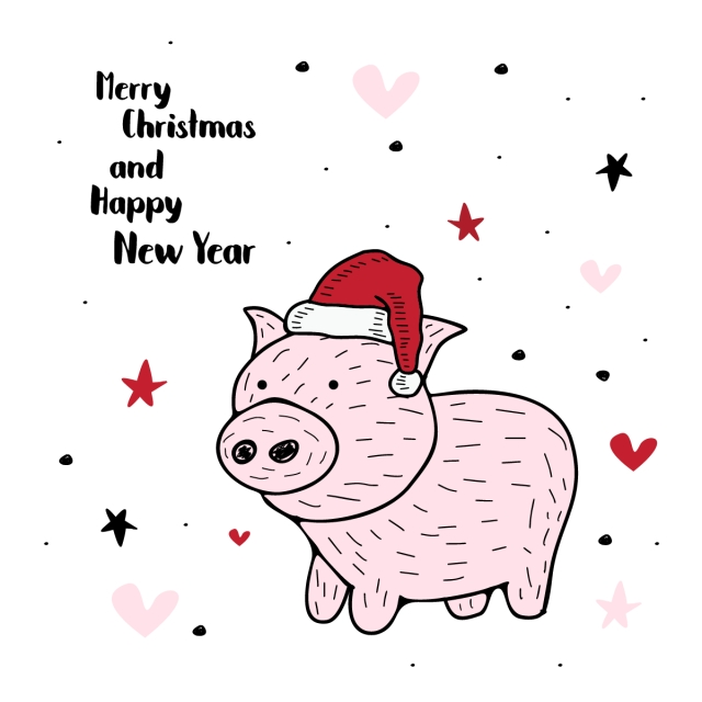 640x640 Christmas And New Year Greeting Design With Pig Drawing, Poster
