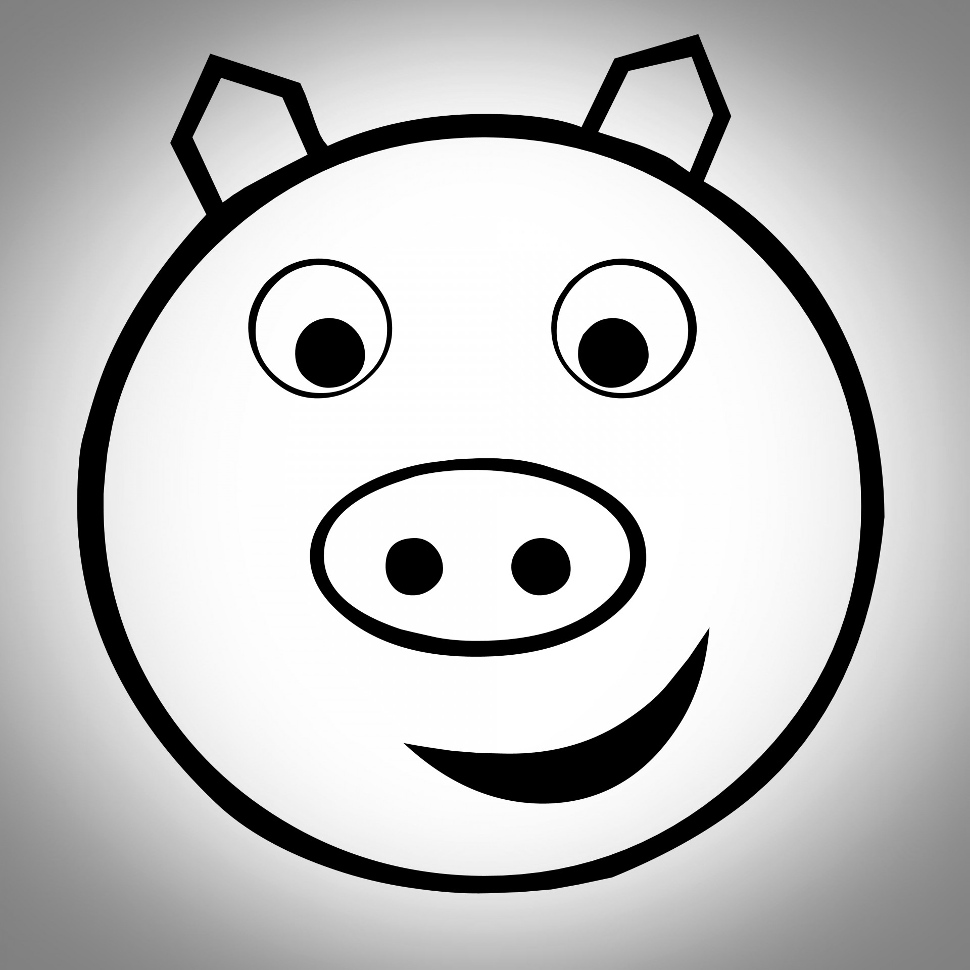 1920x1920 Drawing, Grey, Pig, Face, Vignette