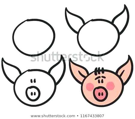 450x397 How To Draw Pig Face Draw A Cute Pig Face