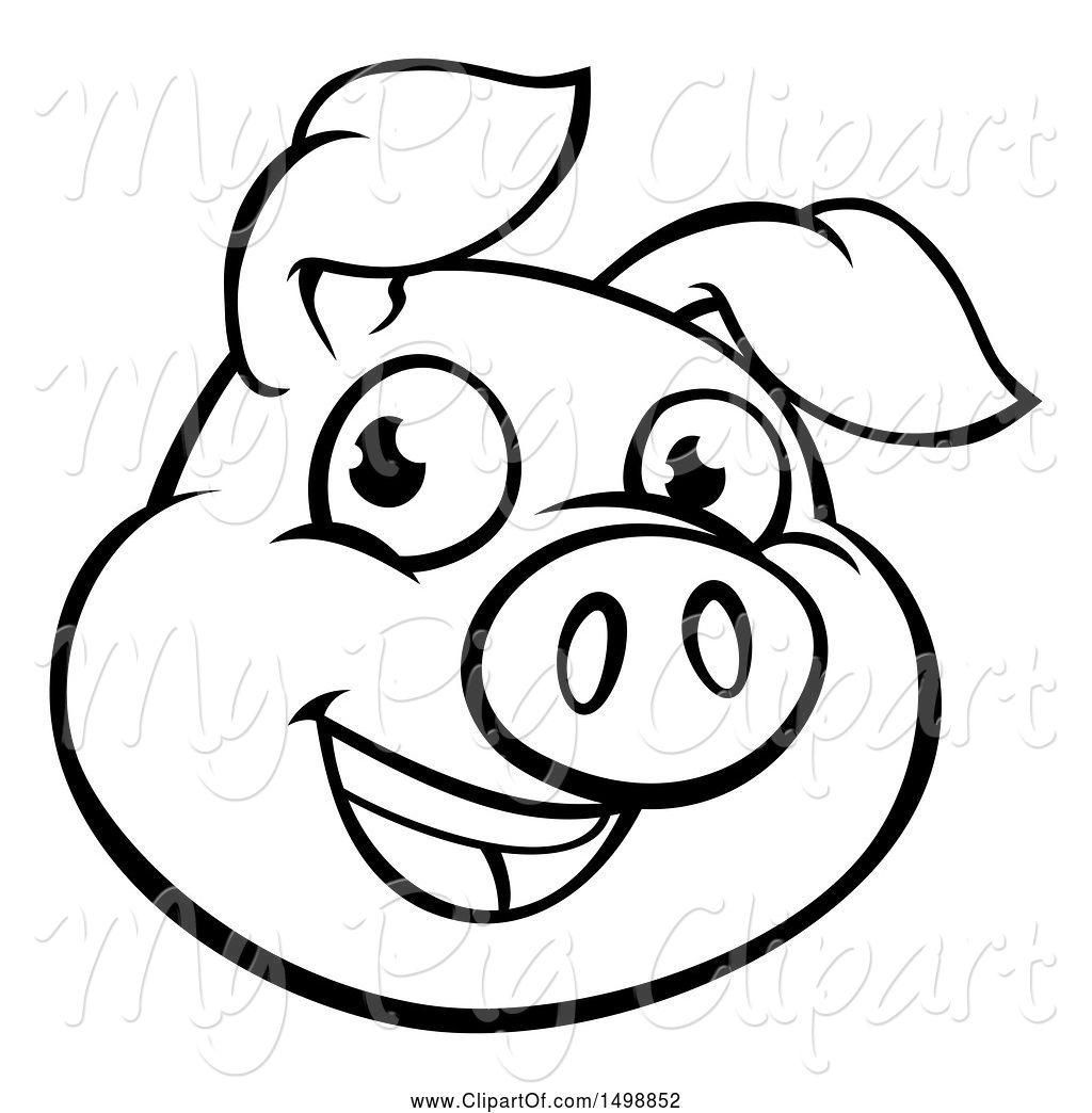 1024x1044 Swine Clipart Of Cartoon Black And White Happy Pig Face
