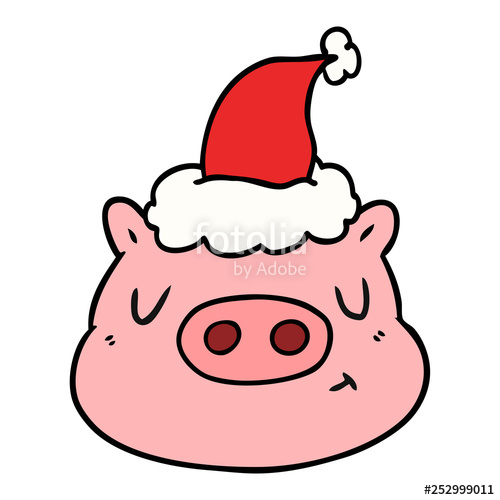 500x500 Line Drawing Of A Pig Face Wearing Santa Hat Stock Image