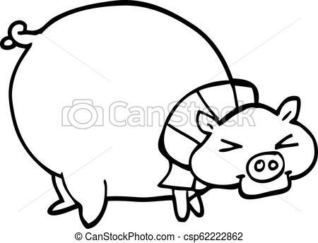 450x344 Line Drawing Cartoon Fat Pig