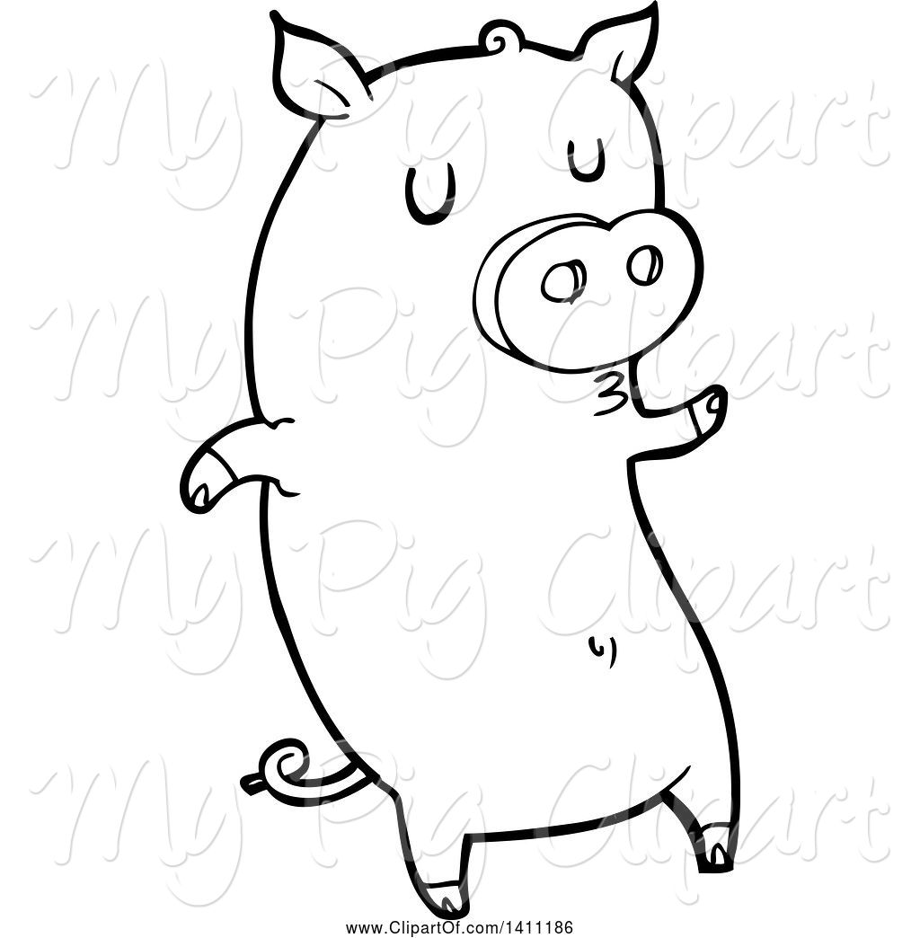 1024x1044 Swine Clipart Of Cartoon Black And White Lineart Pig