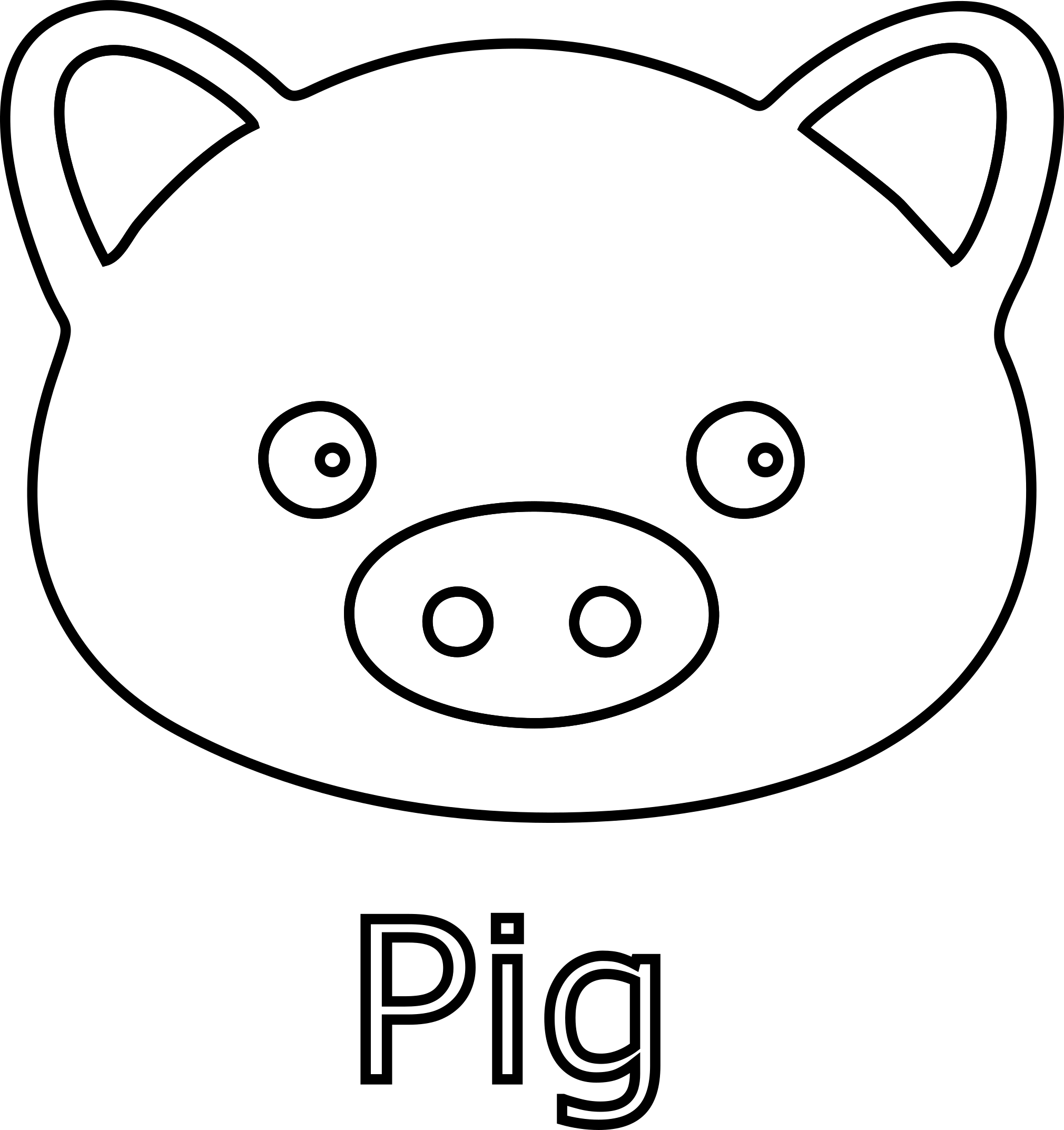 2020x2145 Unique Pig Face Line Art Black Image Daily Cliparts For You