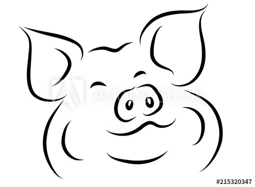 500x367 Continuous Line Drawing Of Cute Pig Vector Illustration Simple