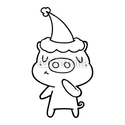 400x400 Line Drawing Of A Content Pig Wearing Santa Hat Buy Photos Ap