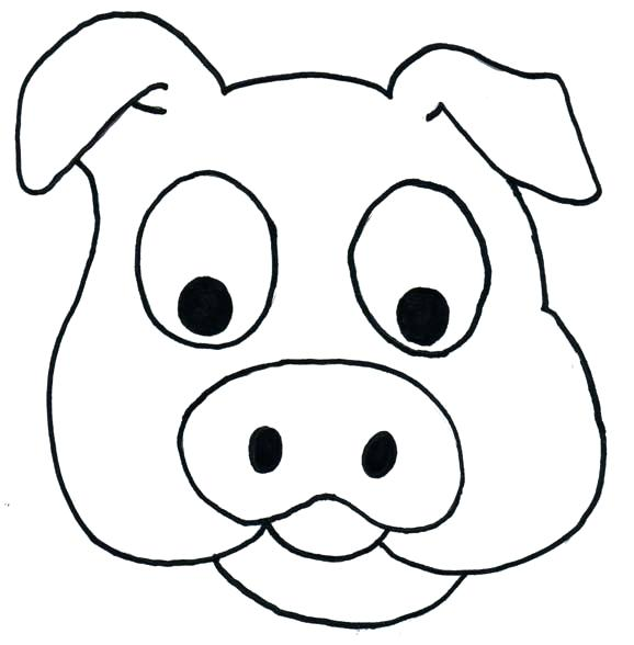 578x588 How To Draw A Cartoon Pig Pig Line Drawing