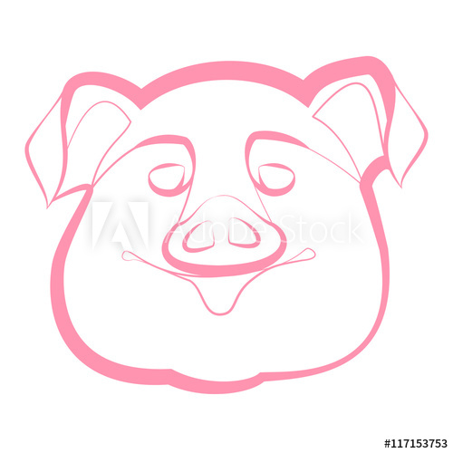 500x500 Smiling Pig Snout On A White Background