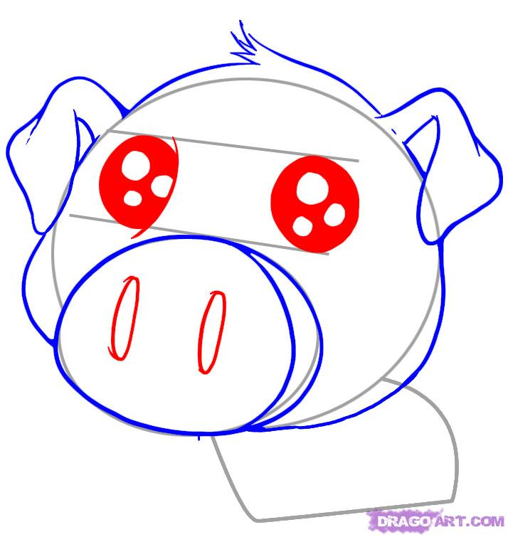 714x755 Draw A Cute Pig, Step
