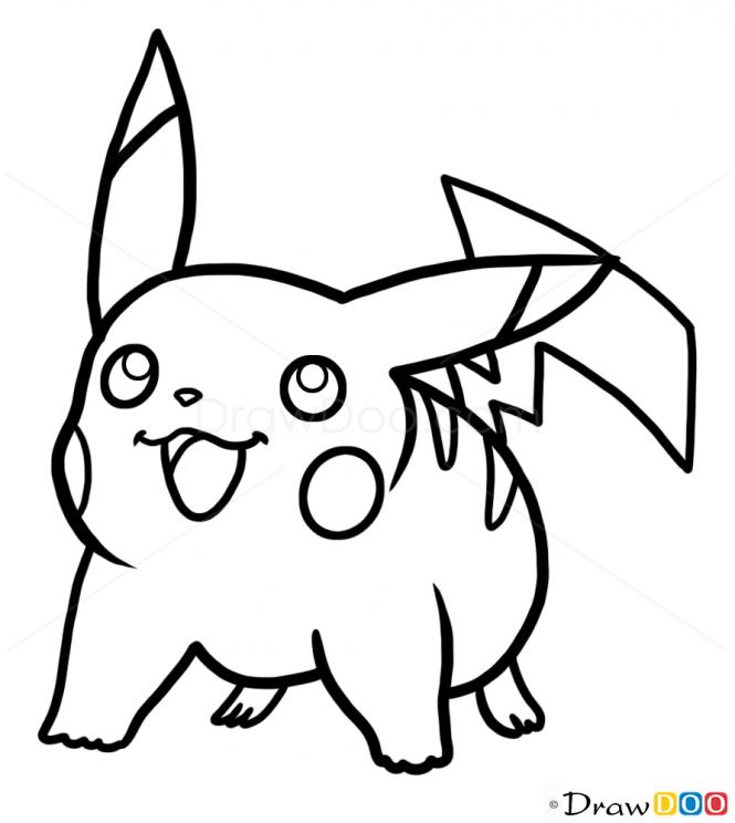 Pikachu Line Drawing