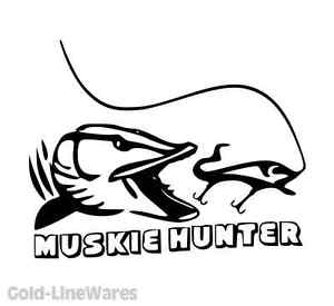 300x275 muskie hunter sticker pike fishing lead bait baitcaster spinner