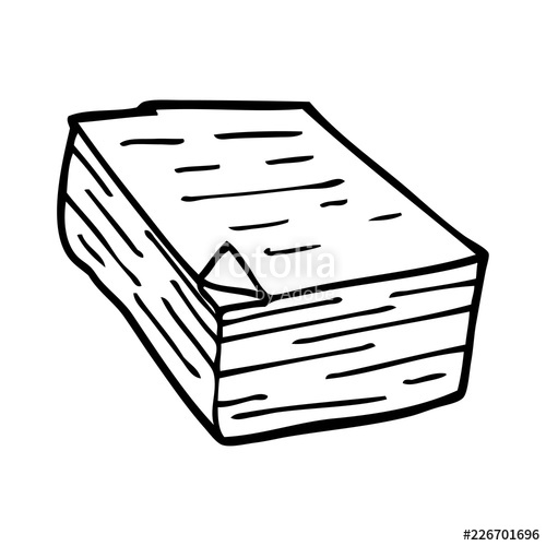 500x500 Line Drawing Cartoon Pile Of Paper Stock Image And Royalty Free