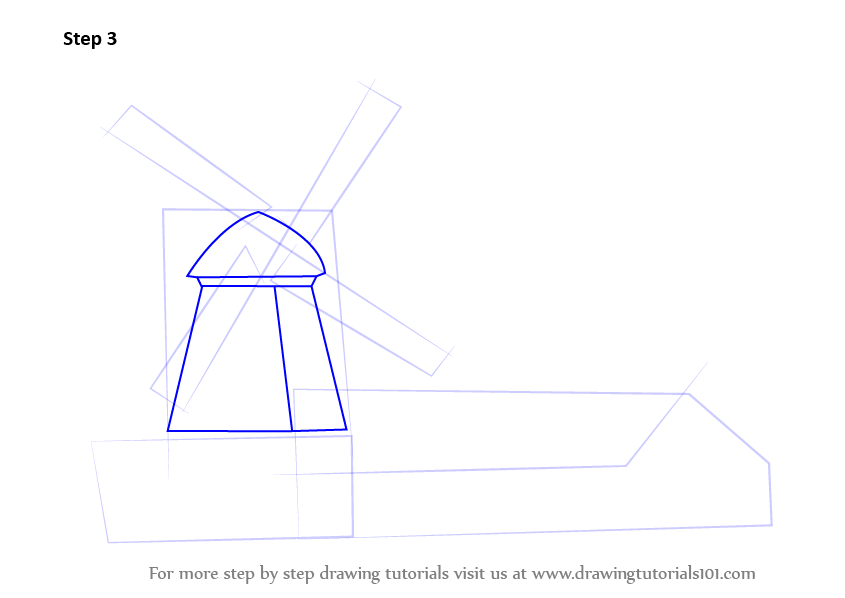 845x598 Learn How To Draw A Windmill With House