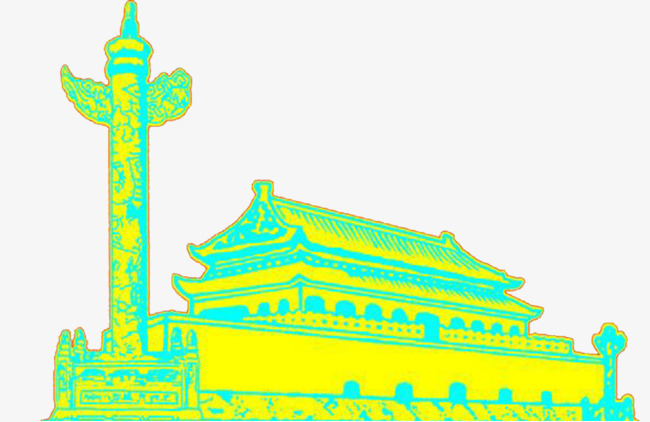 650x422 line painted tiananmen pillar, line clipart, line drawing