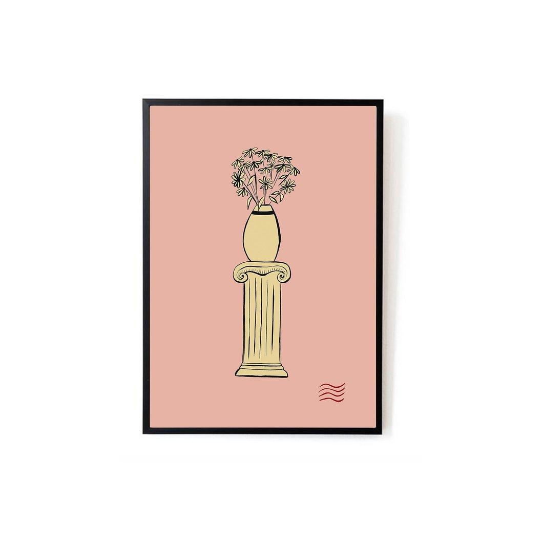 1060x1060 Vase On Pillar Art Print Sonni Blush
