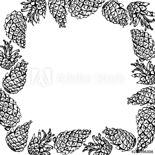 500x500 Card With Frame Of Pine Cones Vector Outline Drawing With Space