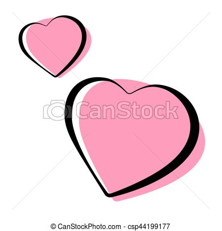 450x470 pink heart shaped outlined icons vector illustration pink heart
