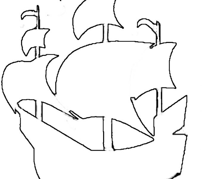 678x600 Pirate Ship Outline Coloring Page
