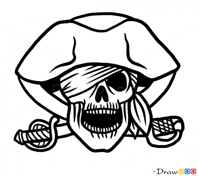 665x591 Download Pirate Skull Drawing Easy Clipart Drawing Pirate Skull