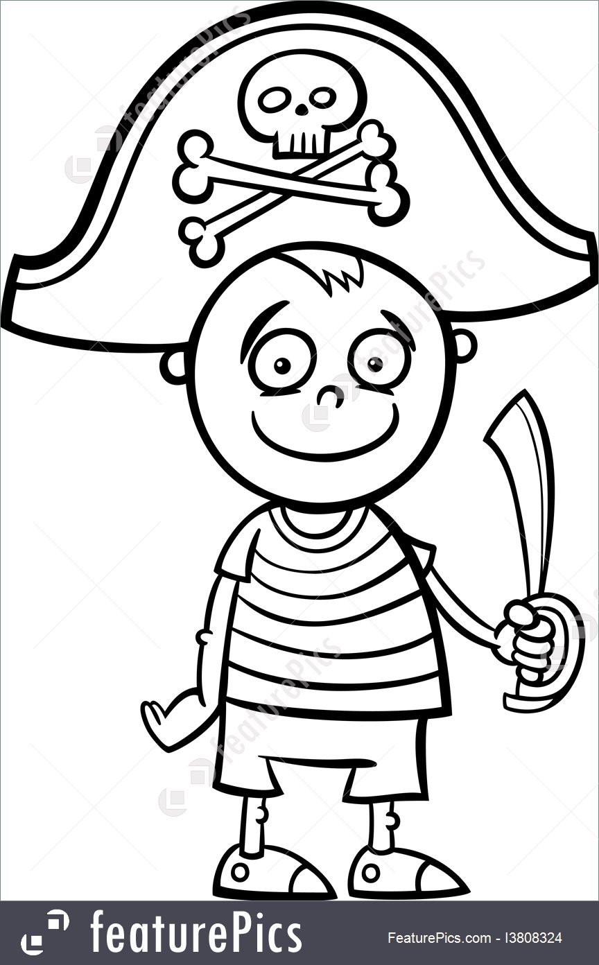 864x1392 Halloween Boy In Pirate Costume Coloring Page