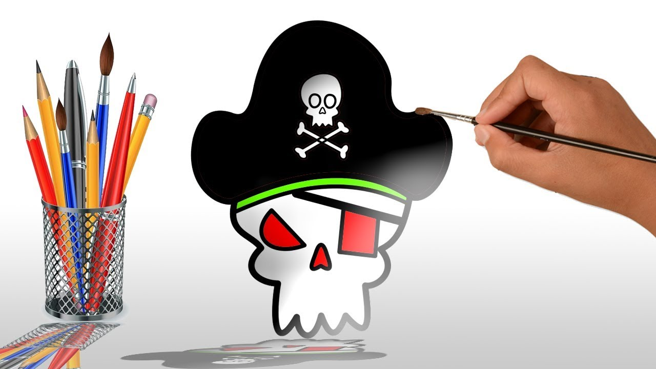 1280x720 Coloring For Kids How Draw Pirate Face So Cute So Fun Learn