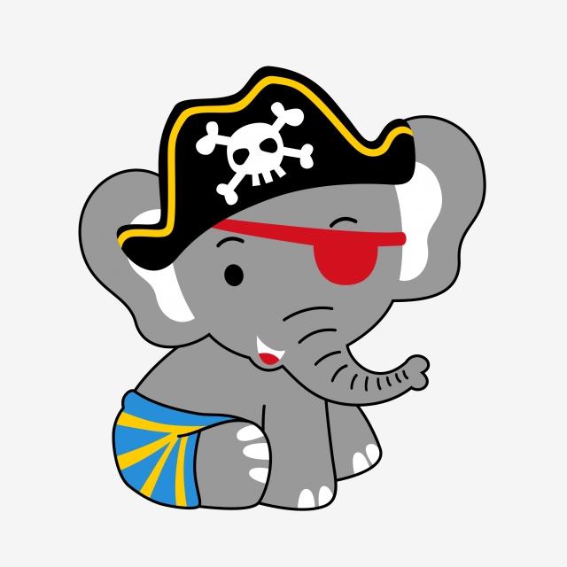 640x640 pirate pirate elephant elephant cartoon, cartoon pirate hat, hat