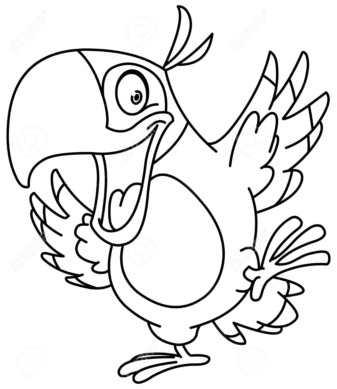 1126x1300 Parrot Drawing Outline Cartoon Coloring Pages