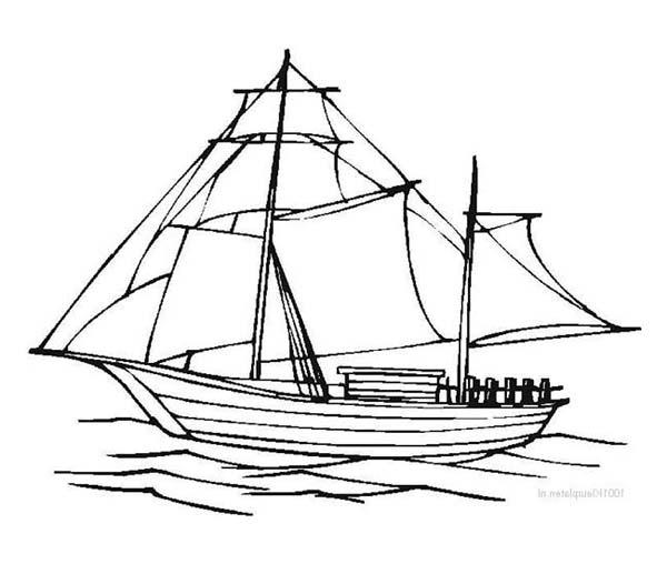 600x508 Drawn Sailing Pirate Ship