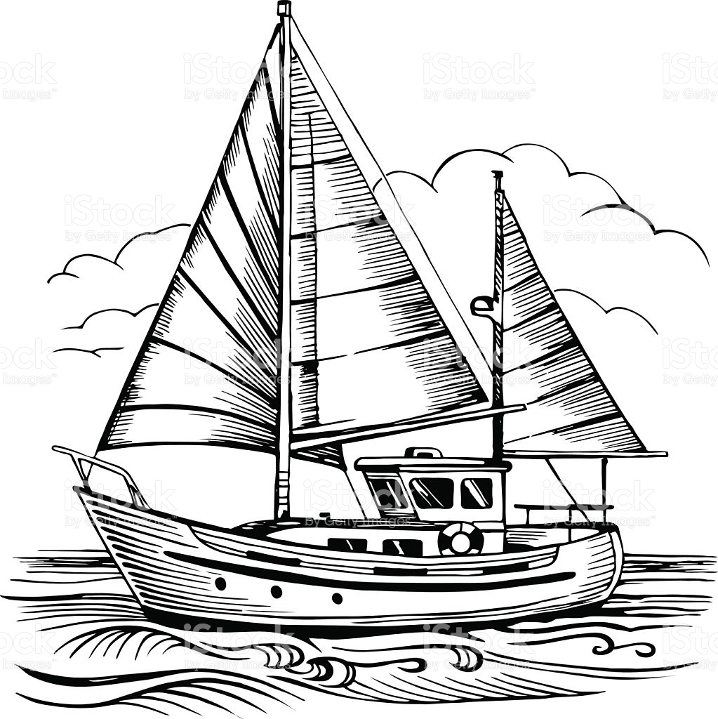 1023x1024 Boat Drawing Colored Pencil For Free Download