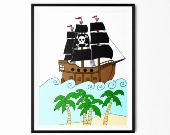 340x270 Pirate Ship Drawing Etsy