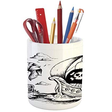 425x425 Pencil Pen Holder, Pirate, Printed Ceramic Pencil Pen
