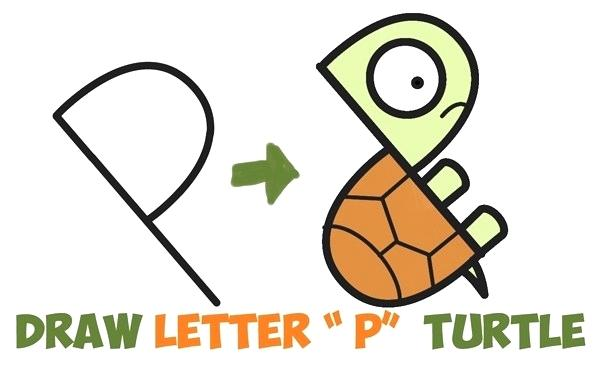 600x383 Easy Drawlings How To Draw A Cute Cartoon Turtle From Letter P