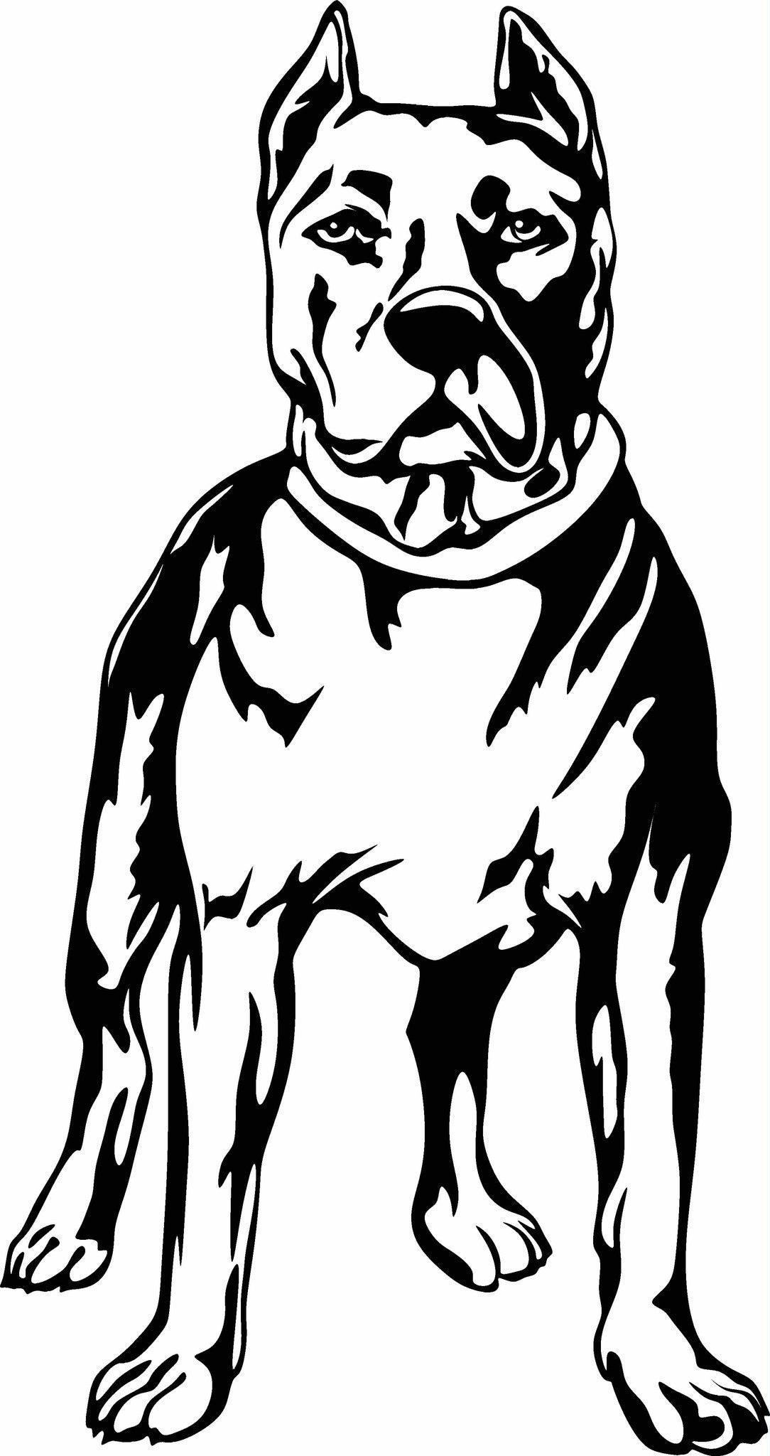 1084x2048 Pit Bull Standing Vinyl Cut Out Decal, Sticker