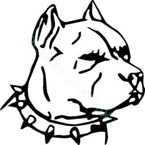 300x300 Pitbull Face W Spiked Collar Vinyl Decalsticker Dog Pet American