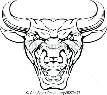 450x400 Bull Face Drawing