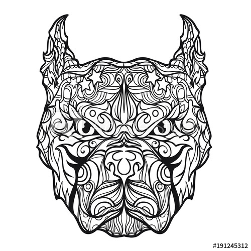 500x500 Ornament Pitbull Face In Line Art Style, Vector Illustration