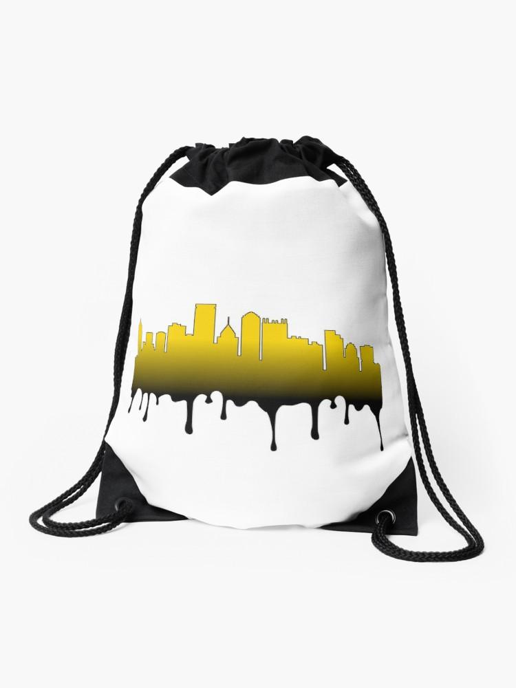 750x1000 Black And Gold Drip Pittsburgh Skyline Drawstring Bag