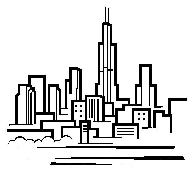 615x565 Chicago Skyline Drawing Clipart Download And Print Your