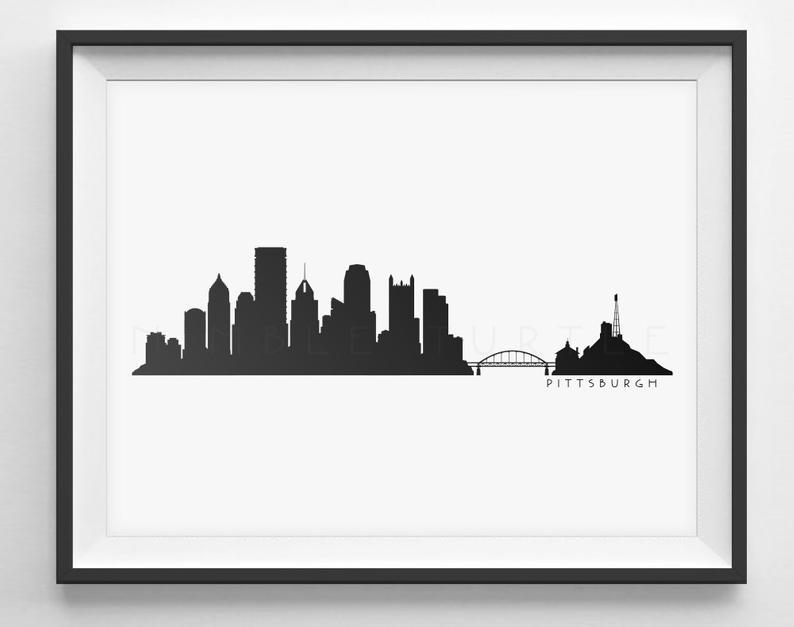 794x627 Pittsburgh Skyline Silhouette Printable Skyline Etsy