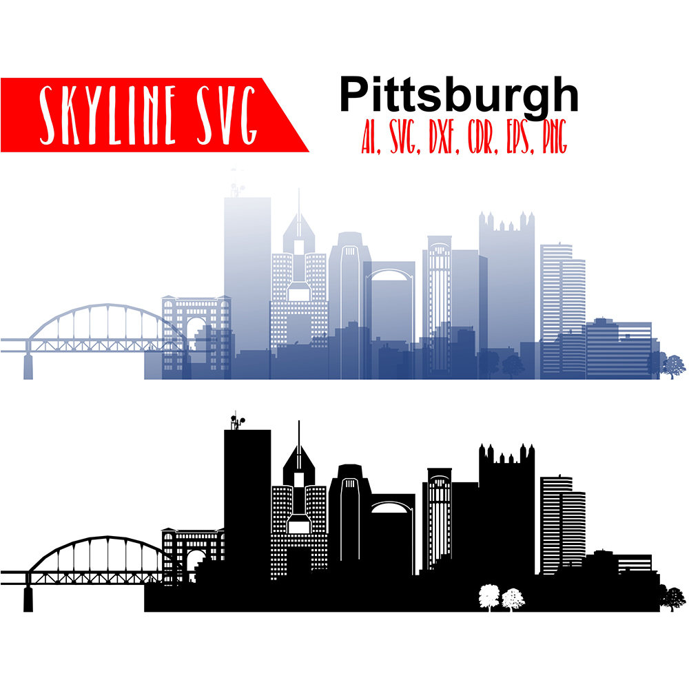 1000x1000 pittsburgh vector skyline pittsburgh pennsylvania city etsy