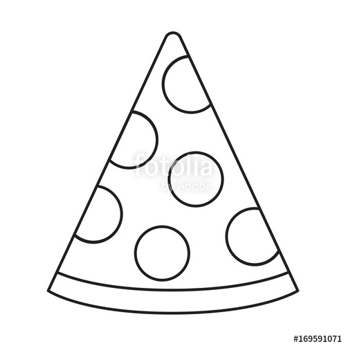 500x500 This Is A Black And White Vector Line Drawing Of A Slice Of Pizza