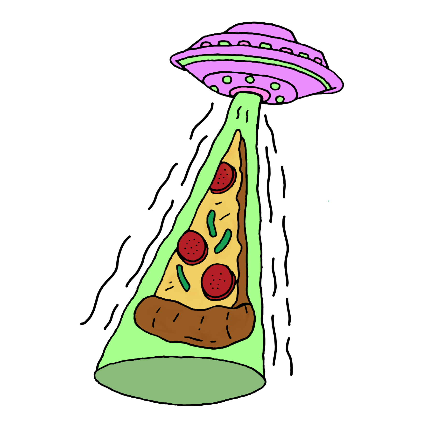 1773x1773 Pizza Alien Alienship Outline Drawing Draw Line Mystick