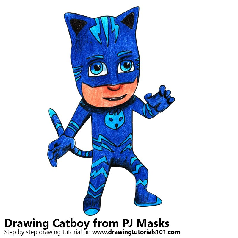 800x800 Catboy From Pj Masks Colored Pencils