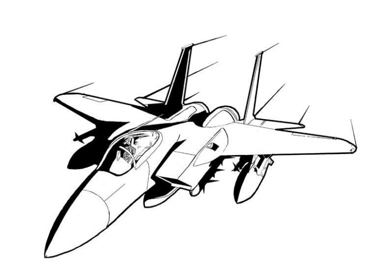 768x515 plane coloring pages terrific how to draw a jet new line art jet